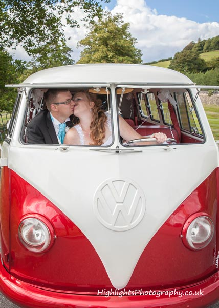 Wedding and VW Camper Van at Kelston Park, Bath