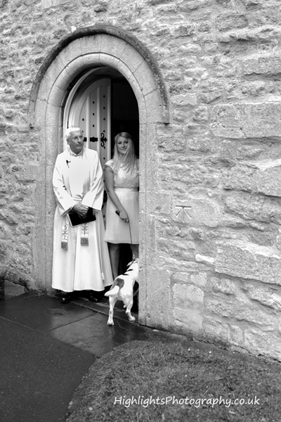Highlights Photography waiting for the Bride at a Bath Wedding St Mary's Church, Saltford