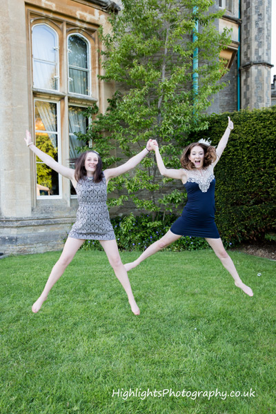 Star jumps at a Tortworth Court Wedding