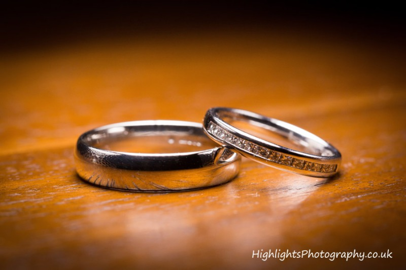 wedding rings photographed by Highlights Photography at Walton Park Hotel Clevedon