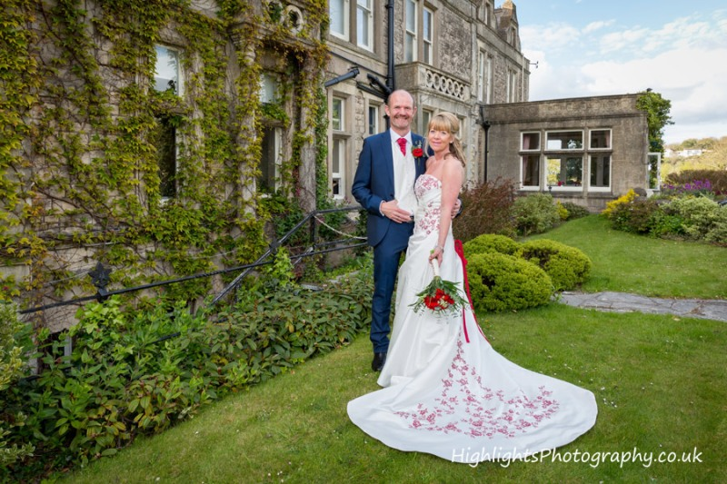 Wedding couple outside Walton Park Hotel Clevedon