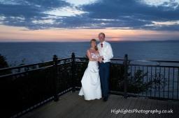 Bride & Groom at Sunset over Walton Park Hotel Clevedon Wedding