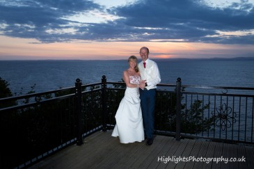 Bride & Groom at Sunset over Walton Park Hotel Clevedon Wedding
