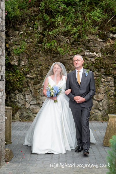 Banwell Castle Wedding Somerset - Bride & Dad