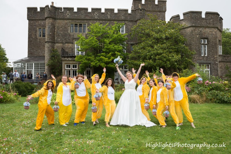 Banwell Castle Wedding Somerset - Bridesmaids fun