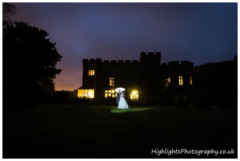 Banwell Castle Wedding Somerset at night
