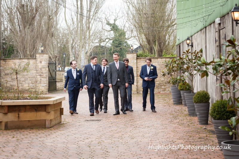 Groom and his groomsmen at the barn at berkeley
